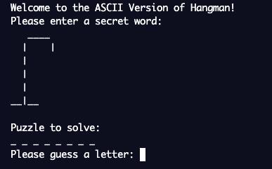 screenshot of extension 1: hangman with gallows
